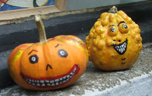Two painted pumpkins (c) Katrien Vander Straeten