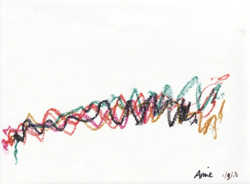Amie's crayon drawing, 10 Jan 2008 (c) Katrien Vander Straeten