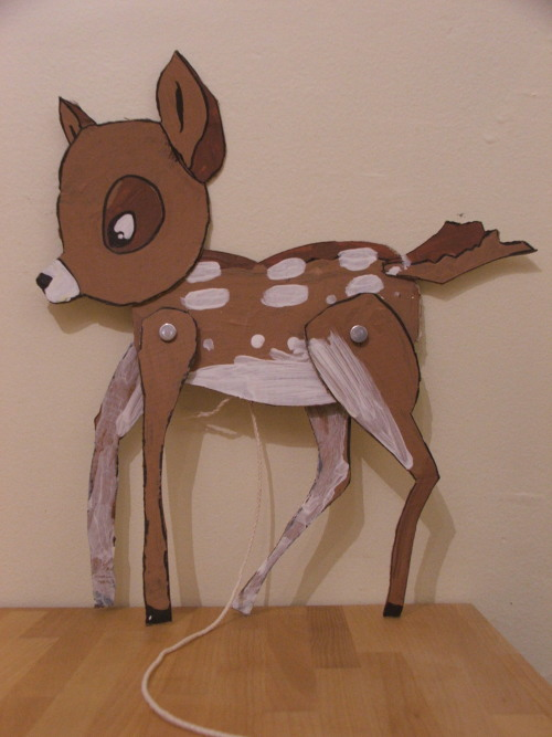 cardboard Bambi pull toy (c) Katrien Vander Straeten