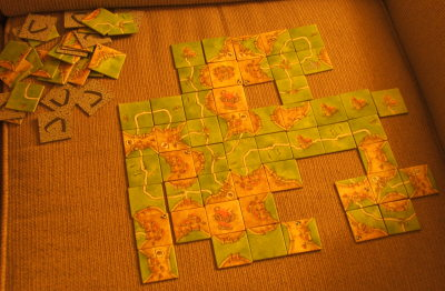 Carcassonne game played with Amie, March 2008 (c) Katrien Vander Straeten