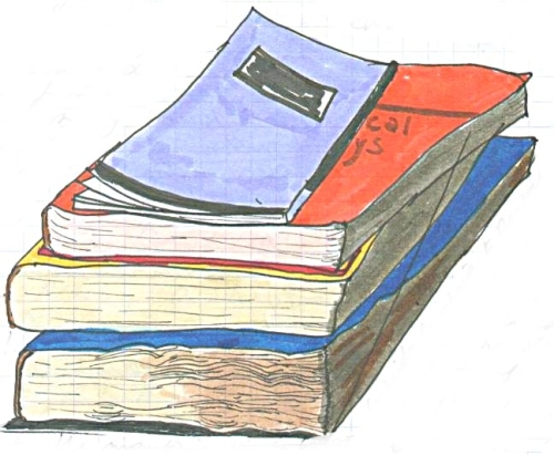 Drawing of pile of books (c) Katrien Vander Straeten