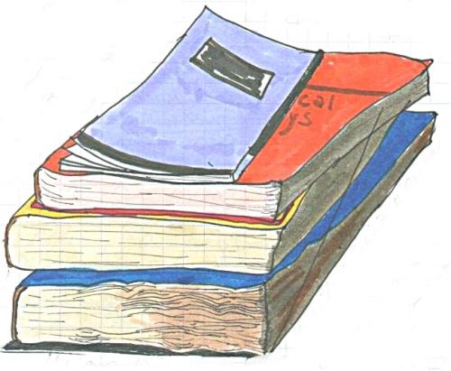 Drawing of pile of books (c) Katrien Vander Straeten