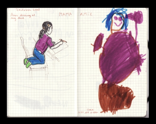 Amie and Mama's drawings of Amie on chair, October 2008 (c) Katrien Vander Straeten