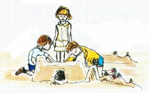 color drawing of myself and cousins making sandcastle