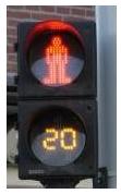 Photograph of European DON'T WALK traffic signal