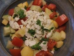 color photograph of cucumber-tomatoe-squash salad (c) Katrien Vander Straeten