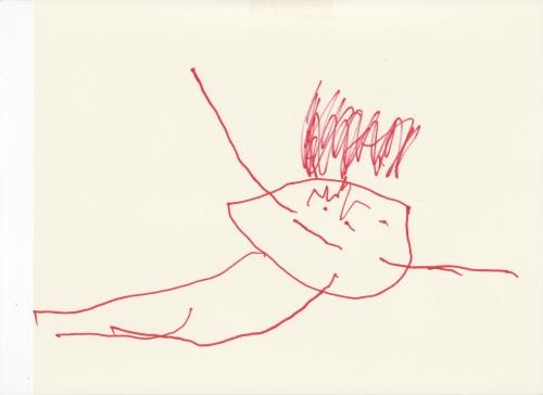Boo! tadpole drawing by Amie 19 December 2007 (c) Katrien Vander Straeten