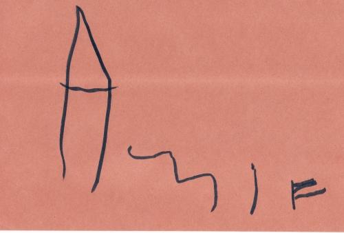 Amie signs her name, 20 Feb 2008 (c) Katrien Vander Straeten