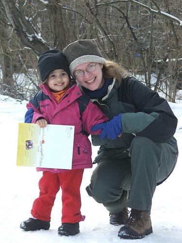 Amie and Mama at Drumlin Farm, Feb 2008 (c) Katrien Vander Straeten