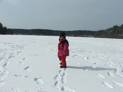 Amie on Frozen Walden Pond, Feb 2008 (c) Katrien Vander Straeten