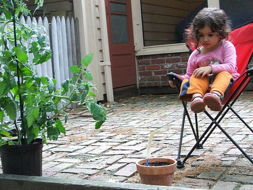 Amie waits for the basil to grow (c) Katrien Vander Straeten