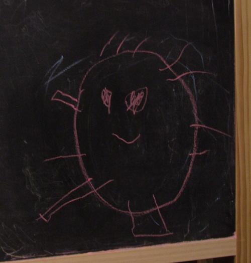 Amie's chalk drawing, 6 August 2008 (c) Katrien Vander Straeten