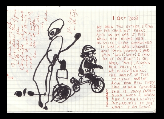 Our Drawings of Amie on Tricycle, Page from Journal, 1 Oct 2008 (c) Katrien Vander Straeten