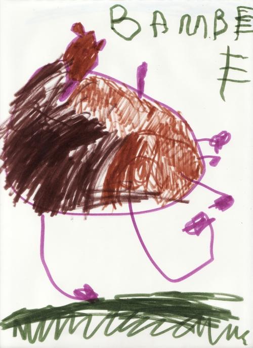Amie's drawing of Bambi, Drumlin Farm, October 2008 (c) Katrien Vander Straeten