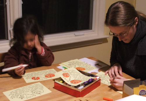 Amie and Mama making pamphlet
