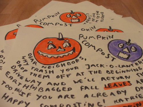 our pamphlet requesting pumpkins for compost (c) Katrien Vander Straeten, october 2008